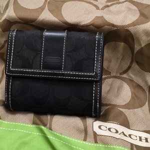 Coach black fabric/leather bifold wallet